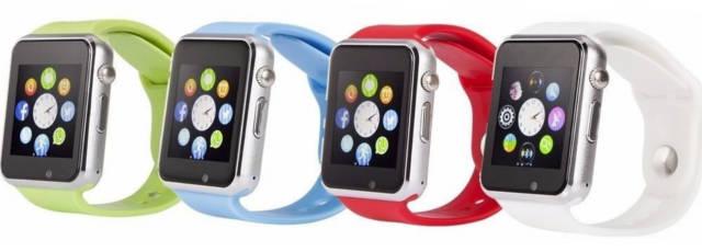 smartwatch a1 em várias cores verde, azul, vermelho e branco