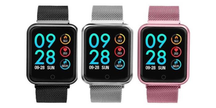 Relógio smartwatch p70 cores preto cinza metálico e rosa